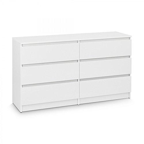 Galdem Kommode mit 6 Schubladen 140cm Sideboard Mehrzweckschrank Anrichte Diele Flur Esszimmer Wohnzimmer Schlafzimmer