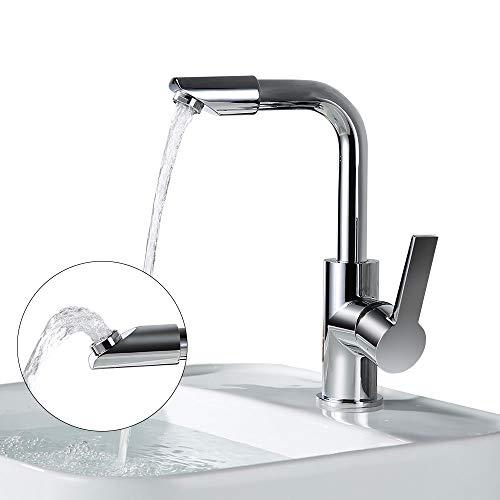 Homelody 360° drehbar Auslauf Wasserhahn Bad Armatur Waschbecken hoch Mischbatterie Waschtischarmatur Waschtischmischer