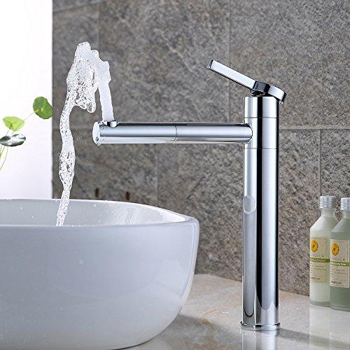 Homelody 360° verchromt Hohe Bad Armatur Waschbecken Wasserhahn Waschtisch Badarmatur Waschtischarmatur Mischbatterie Einhebelmischer Waschbeckenarmatur f.Badzimmer