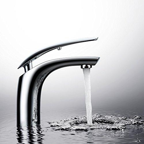 Homelody Chrom Wasserhahn Bad Waschtischarmatur Einhebelmischer Waschbecken Waschtisch Armatur Mischbatterie Waschbeckenarmatur für Bad