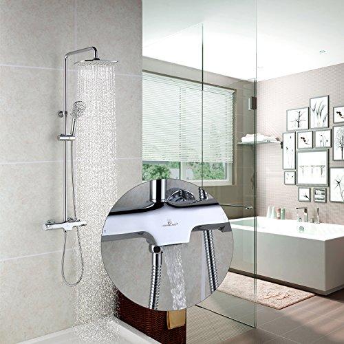 Homelody Duschsystem mit Thermostat Regendusche Duschset Dusche Duscharmatur Brausethermostat