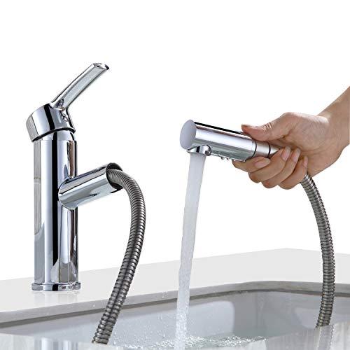 Homelody Waschtisch Armatur Bad Wasserhahn mit ausziehbarem Brause Mischbatterie Waschbeken Einhebelmischer Waschtischarmatur