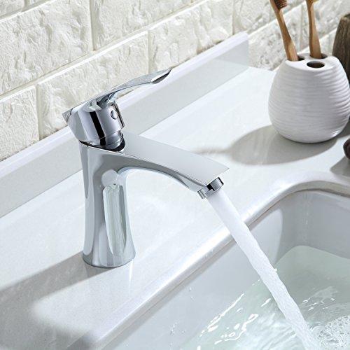 Homelody Waschtischarmatur Badarmatur Bad Mischbatterie Waschbecken Armatur Chrom Wasserhahn Waschbeckenarmatur f. Badezimmer