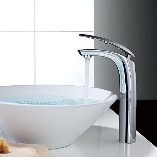 Homelody Waschtischarmatur Wasserhahn Bad Armatur Waschbecken Mischbatterie hoch weiss + chrom Bad Armatur