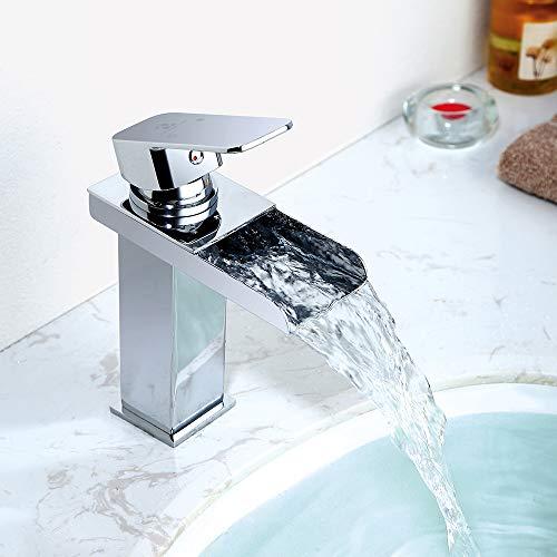 Homelody Wasserhahn Bad Wasserfall Wascbecken Armatur Badarmatur Mischbatterie Waschtischarmatur Waschbeckenarmatur Waschtischmischer für Bad