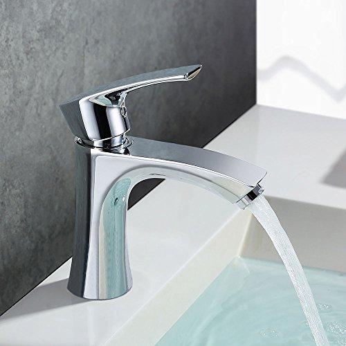 Homelody Wasserhahn Waschbecken Armatur Bad Mischbatterie Waschtischarmatur und Chrom Siphon Röhrensiphon Röhrengeruchsverschluss