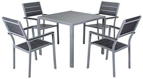 Miweba Bermuda Polywood 4+1 Aluminium Tisch & Stühle Sitzgarnitur Sitzgruppe - Wetterfest - Aluminium - Outdoor & Indoor