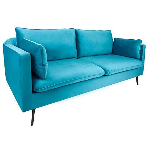Riess Ambiente Design 3er Sofa Famous blau 210cm Samt Federkern inkl. Kissen Couch 3-Sitzer Samtbezug