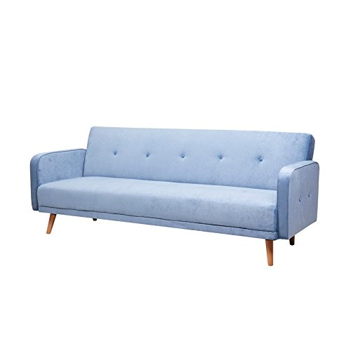 Riess Ambiente Design Schlafsofa Scandinavia 210cm blau Schlafcouch Sofa Couch 3-Sitzer 3er Sofa Microvelours