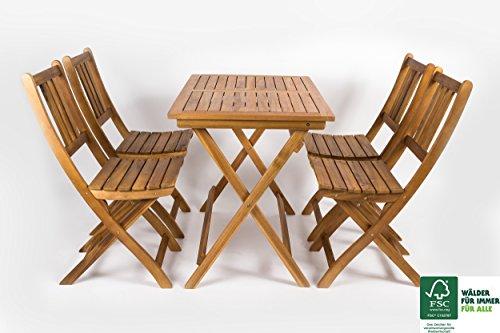SAM® 5 TLG. Akazien-Holz Gartengruppe, Sitzgruppe bestehend aus 1 x Tisch und 4 x Gartenstuhl, zusammenklappbares Gartenmöbel, FSC® 100% Zertifiziert