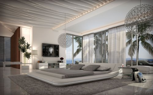 SAM® Polsterbett Bett Custo LED in Weiß 180 x 200 cm abgerundetes modernes Design Beleuchtung vorhanden