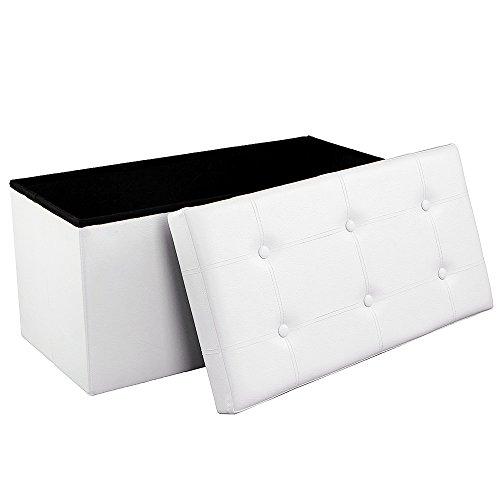 SONGMICS Sitzhocker Sitzbank Sitztruhe Aufbewahrungsbox belastbar bis 300 kg 76 x 38 x 38 cm