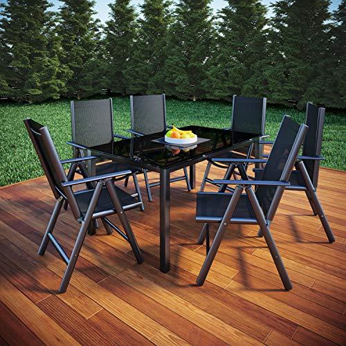 VCM Alu Sitzgruppe 150x90 Gartenmöbel Gartengarnitur Tisch Stuhl Essgruppe Gartenset