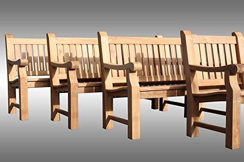 furniture4life Hochwertige Teak Parkbank Elefantenbank Gartenbank Sitzbank Garten Bank