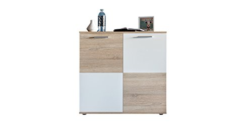 trendteam smart living Kommode Schrank Wohnzimmerschrank Sideboard Compare, 92 x 91 x 36 cm in Eiche Sägerau Hell Dekor, Absetzungen Weiß mit viel Stauraum
