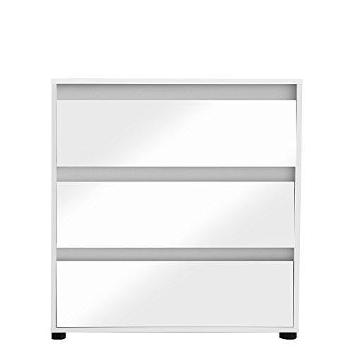 trendteam smart living Kommode Sideboard Schrank Sol Color, Front Weiß Glanz mit Wechselblenden in Weiß, Mintgrün, Altrosa, Grau, Stone und Alteiche