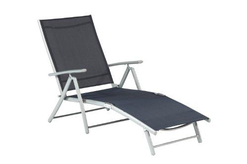Deckchair Relaxliege Liege Sonnenliege Aluminium Textilbespannung Farbauswahl, Farbe:Marineblau
