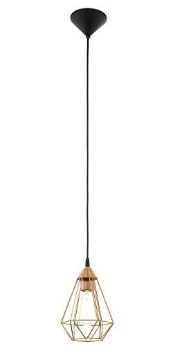 EGLO 94193 A++ to E, Hängeleuchte, Stahl, E27, Kupferfarben/ Schwarz, 17.5 x 17.5 x 110 cm