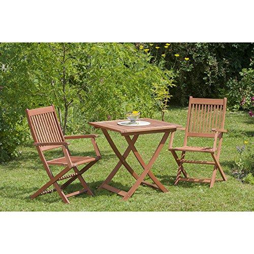 Gartenmöbel-Set Florenz 3-tgl. aus Eukalyptusholz, mit Klappsessel und Tisch 70x70 cm