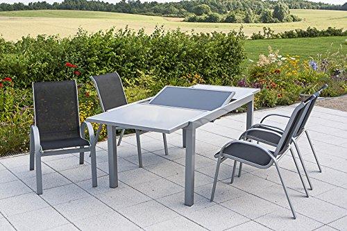 MERXX Gartenmöbel-Set Amalfi, silber/anthrazit 5 tlg.