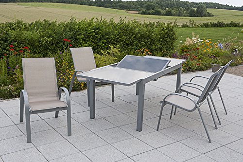 MERXX Gartenmöbel-Set Amalfi, silber/champagner 7 tlg.