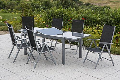 MERXX Gartenmöbel-Set Salerno 7-tgl. Klappsessel und Ausziehtisch 160(220)x90 cm Farbe zur Wahl schwarz