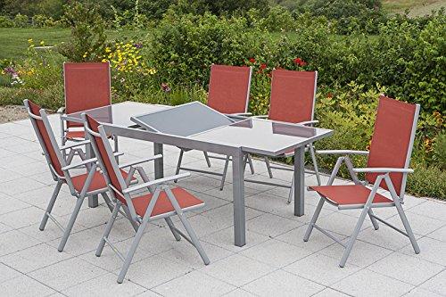 MERXX Gartenmöbel-Set Salerno 7-tgl. Klappsessel und Ausziehtisch 160(220)x90 cm Farbe zur Wahl terracotta