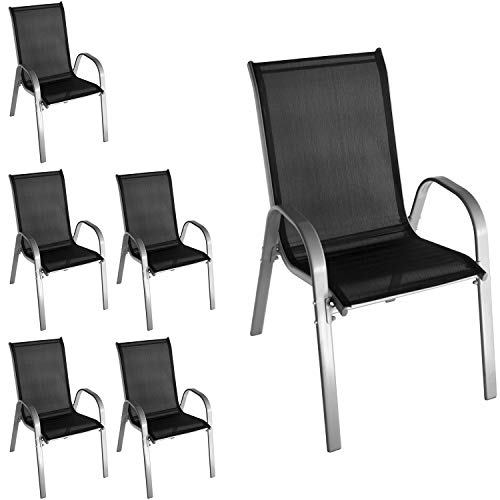 Wohaga 6 Stück Stapelstuhl mit Textilenbespannung, Stahlgestell pulverbeschichtet, Grau/Schwarz, stapelbar, Gartenstuhl