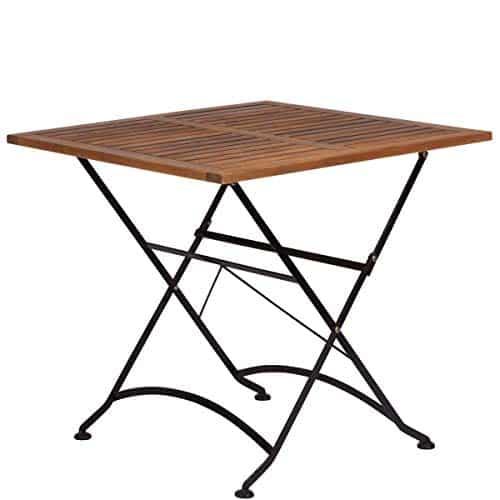 BUTLERS Parklife Gartentisch aus Holz 80x80x75 cm - Balkon-Tisch aus FSC-Akazienholz und Metall verzinkt - Holztisch für Balkon oder Terrasse
