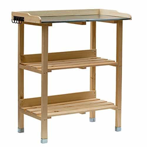 RM Design Holz Pflanztisch 76x38x91 cm für Garten Terasse Balkon mit Zinkplatte Gartentisch 2 Ablagen Wetterfest Pflanzregal