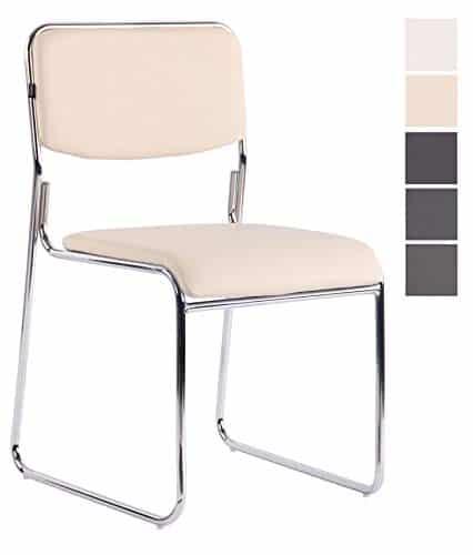 CLP Besucherstuhl Kahla mit hochwertiger Polsterung und Kunstlederbezug I Stapelstuhl mit gepolsterter Sitzfläche und Rückenlehne