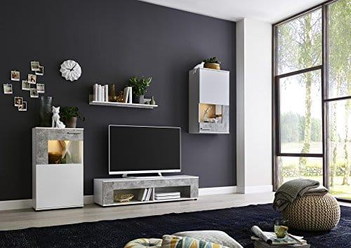 BMG Möbel Wohnwand Schrankwand Wohnzimmerschrank Anbauwand TV-Element Beton Miami in weiß/Betonoptik inkl. LED Beleuchtung. Made in Germany