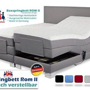 Boxspringbett ROM II elektrisch verstellbar Manufaktur Design. Härtegrad H2 / H3 frei wählbar. Made in Germany. 90x200 | 100x200 | 140x200 | 160x200 | 180x200 | 200x200 cm. Qualität Made in Germany.