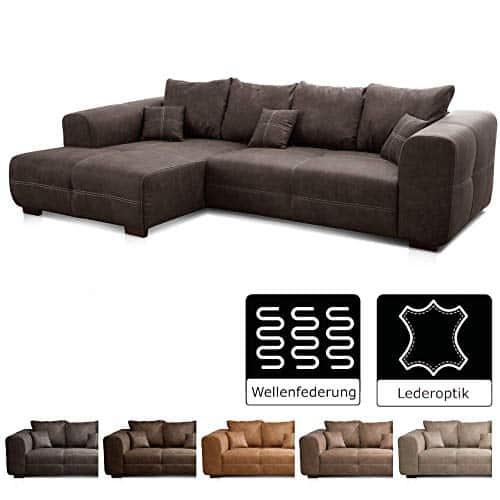 Cavadore Ecksofa Mavericco / XXL Eckcouch Inkl. Rückenkissen und Zierkissen / Longchair rechts / Industrial Style