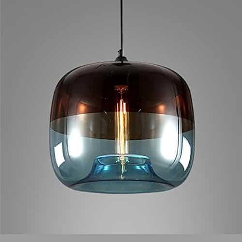 EasyGame-Einzigartige Optic zeitgenössische mundgeblasenem Glas Pendelleuchte, Decke hängende Leuchten, hellblau, 25cm