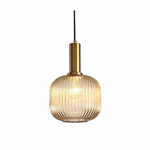 HJXDtech Industrial Vintage Medium Pendelleuchte Moderner Retro-Stil Drop Deckenleuchte Hängelampe Glas Lampenschirm mit poliertem Messing Lampenfassung