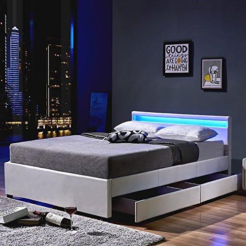 Home Deluxe - LED Bett - Nube - Weiß - inkl. Schublade - Verschiedene Größen
