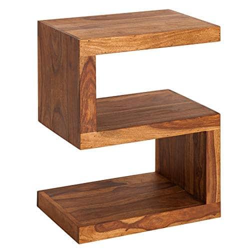Invicta Interior Handgearbeiteter Beistelltisch S 60cm Sheesham Massivholz variabel stellbar Wohnzimmertisch Couchtisch Holztisch Tisch
