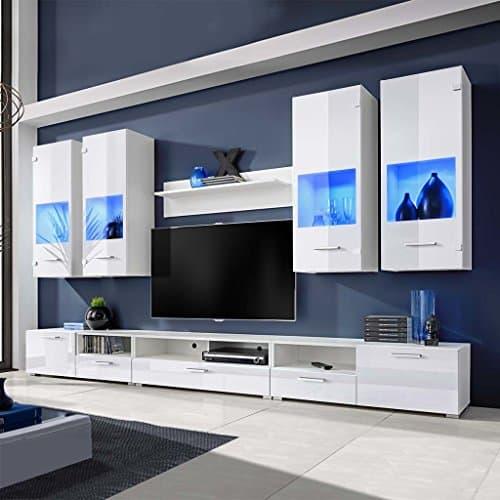 Namotu Hochglanz Wohnwand Anbauwand TV-Möbel weiß + Blaue LED-Lichter 8-TLG.