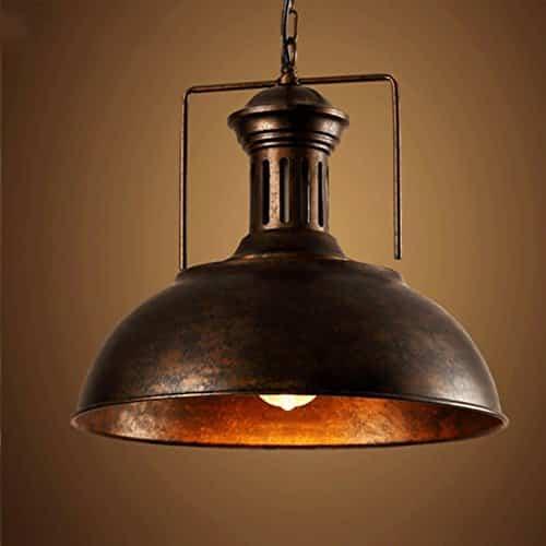 """Retro Industrielle Pendelleuchte, MOTENT Vintage Stil Hängeleuchte 15,75""""Breite Umweltfreundlich Deckenleuchte Ceiling Lampe mit rustikalem Dome/Schüsselanordnung in Kupfer"""