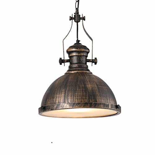 Retro Pendelleuchte Glassschirm Rund Design Vintage Küche Lampe Hängeleuchte E27 Eisen Hängelampe Rustikal Wohnzimmer Esszimmer Arbeitszimmer Restaurant Leuchte Deckenleuchte Ø31cm (Klar Glas)