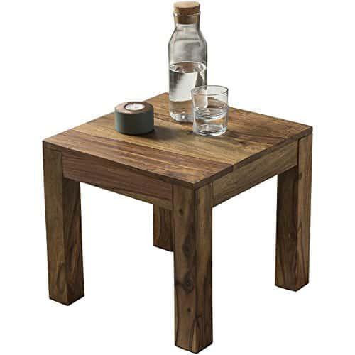 WOHNLING Couchtisch Massiv-Holz Sheesham 45 cm breit Wohnzimmer-Tisch Design dunkel-braun Landhaus-Stil Beistelltisch Natur-Produkt Wohnzimmermöbel Unikat modern Massivholzmöbel Echtholz rechteckig