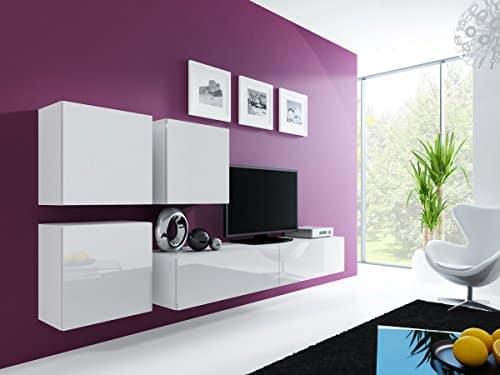 Wohnwand Anbauwand VIGO in MDF Hochglanz, Pusch Click, Farbauswahl (weiß / weiß hochglanz)