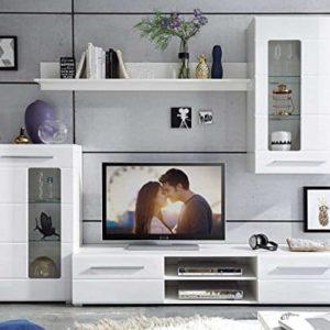Wohnwand Anbauwand Wohnzimmerschrank 4-tlg.   Weiß Hochglanz   Verglasung
