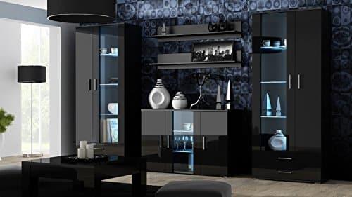 Wohnwand SOHO Anbauwand Wohnzimmer Möbel Hochglanz Vitrine Kommode Tv Schrank (Korpus: Schwarz Matt Front: Schwarz Hochglanz)