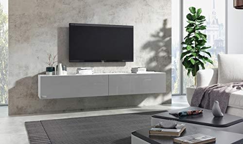 Wuun® TV Board Korpus Weiß Hochglanz- Front Weiß-Hochglanz hängend/8 Größen/5 Farben/200cm/Lowboard Hängeschrank Hängeboard Wohnwand/Hochglanz & Naturtöne/Somero