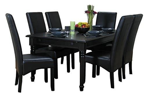 AMARETTA Essgruppe Tisch Sitz Gruppe Esszimmer 8tlg schwarz antik patiniert