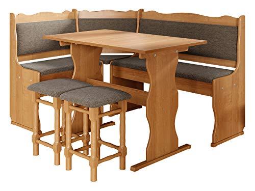 Eckbankgruppe Miki, Erlenholz, Eckbank Gruppe besteht aus Kücheneckbank, 2X Hocker, Tisch, Farbauswahl, Esszimmer Sitzbank