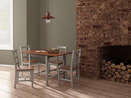 Panana Essgruppe Esstisch und 4 Stuhl Holz Esszimmergarnitur 119 x 75 x 73cm braun + weiß