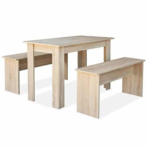 vidaXL Essgruppe 3-TLG. Spanplatte Tischgruppe Esstisch Küchentisch Bänke